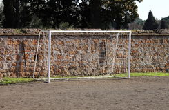 Soccer gate. Gate in a soccer clay court Royalty Free Stock Image