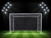 Soccer gate in the middle of field Stock Photo