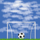 Soccer gates and ball in them Royalty Free Stock Image