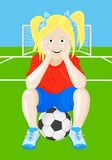 Soccer girl. Sitting on a soccer ball stock illustration