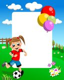 Soccer Girl Frame. Funny photo frame with a girl kicking a football ball on a green field. You can find more frame kid illustrations like this in my portfolio Royalty Free Stock Photography