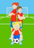 Soccer girls. A group of girls on a soccer field Royalty Free Stock Image