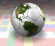 Soccer Globe: International. White soccer ball with the continents, on background of international flags Royalty Free Stock Photos