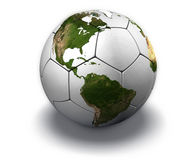 Soccer Globe on White. White soccer ball with the continents, on white background Stock Image