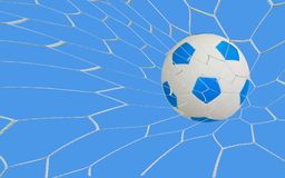 Soccer goal. Kick soccer goal under the blue sky Royalty Free Stock Image