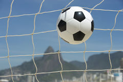 Soccer Goal Ball in Football Net Rio de Janeiro Brazil Beach Royalty Free Stock Photos
