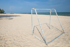 Soccer Goal on Beach Stock Images