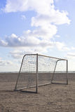 Soccer goal on beach with sky Royalty Free Stock Image