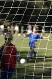 Soccer goal being made. Into net Royalty Free Stock Image