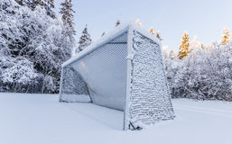 Soccer Goal Covered in Snow Royalty Free Stock Images