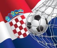 Soccer Goal. Croatia flag with a soccer ball. Stock Image