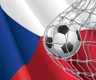 Soccer Goal. Czech flag with a soccer ball. Royalty Free Stock Photo