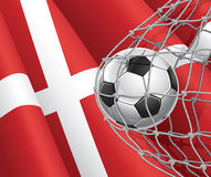 Soccer Goal. Denmark flag with a soccer ball. Stock Image