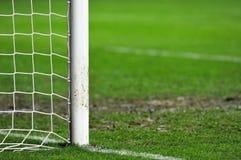Soccer goal detail on rainy day Stock Images