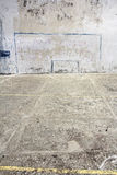 Soccer goal drawn on a wall. On concrete playground in Corniglia, Italy Royalty Free Stock Images