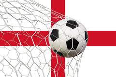 Soccer Goal. English flag with a soccer ball in a net Royalty Free Stock Photos