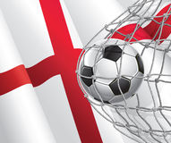 Soccer Goal. English flag with a soccer ball. Stock Images