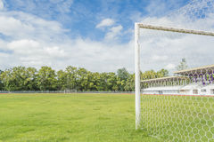 Soccer goal and field. Stock Photos