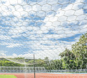 Soccer goal in field. With blue sky white cloud Royalty Free Stock Photos