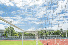 Soccer goal in field. With blue sky white cloud Royalty Free Stock Image