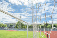 Soccer goal in field. With blue sky white cloud Stock Photography