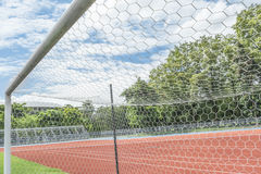 Soccer goal in field. With blue sky white cloud Royalty Free Stock Photography