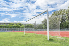 Soccer goal in field. With bluesky white cloud Stock Photos