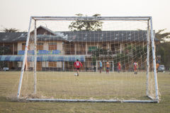 Soccer goal. On the soccer field in evening Royalty Free Stock Photo