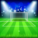 Soccer goal on field vector background. Soccer goal on field photo realistic vector background Royalty Free Stock Photos