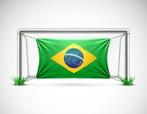 Soccer goal with flag brazil Stock Photos