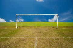 Soccer Goal, football goals with green grass. Stock Photography