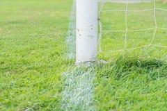 Soccer goal football green grass field. Soccer goal football  on green grass field Stock Photography
