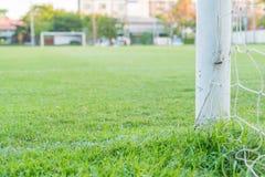 Soccer goal football green grass field. Soccer goal football  on green grass field Stock Image