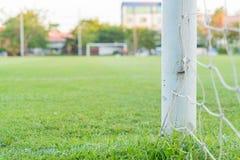 Soccer goal football green grass field Royalty Free Stock Photos
