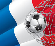 Soccer Goal. French flag with a soccer ball. Stock Photography