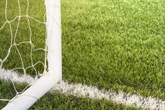 Soccer goal with grass field. Soccer goal with grass field background Royalty Free Stock Photos