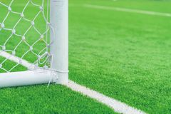 Soccer goal with grass field. Soccer goal with grass field background Stock Photography