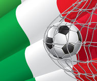 Soccer Goal. Italian flag with a soccer ball. Royalty Free Stock Image