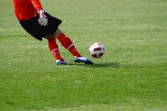Soccer goal kick. Soccer goalie taking a goal kick Stock Photo