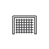 Soccer goal line icon, outline vector sign, linear style pictogram isolated on white. Royalty Free Stock Images