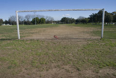 Soccer Goal mouth with closed sign. Soccer/ Football goal mouth with a chain across and a sign saying closed. Copyspace Stock Images