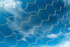 Soccer goal net. On blue sky Stock Photography