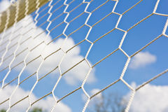 Soccer goal net. On blue sky Royalty Free Stock Images