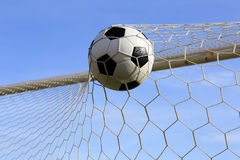 Soccer in the goal net Stock Image