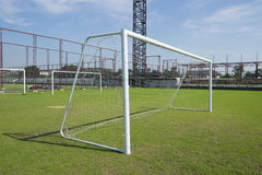 Soccer goal with net. Football goal on the field Stock Photo
