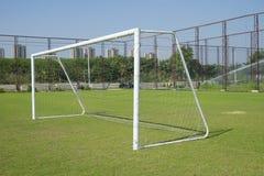 Soccer goal with net. Football goal on the field Stock Photos