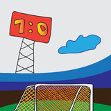 Soccer goal with net. Royalty Free Stock Image