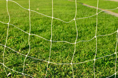 Soccer Goal Net with Green Grass Stock Image