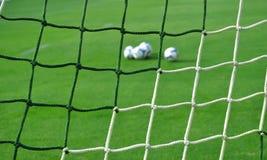 Soccer goal net pattern - football background. Soccer goal net pattern - grass football background - wallpaper Royalty Free Stock Image