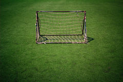 Soccer goal net. In the the plastic sports field Stock Photo